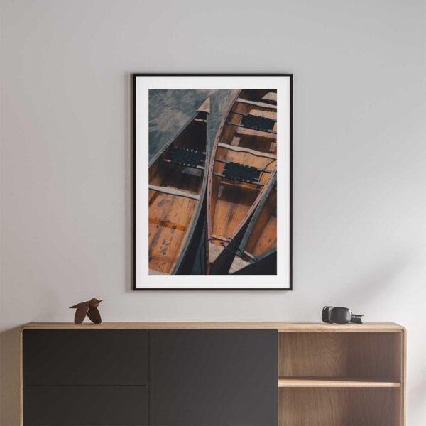 wooden canoes photo print black frame