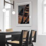 wooden canoes photo print white frame